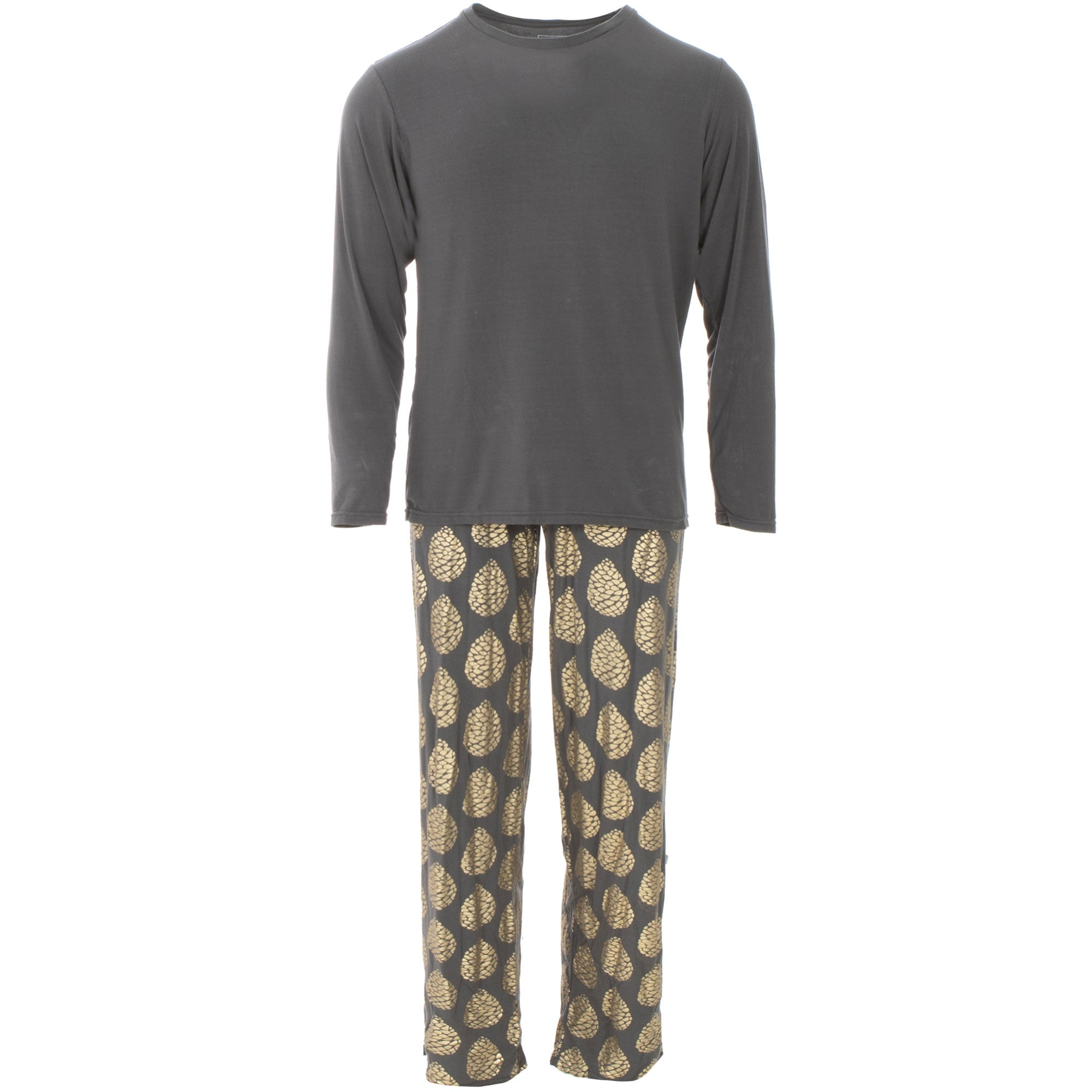 KicKee Pants Mens Long Sleeve Pajama Set - Pewter Pinecones