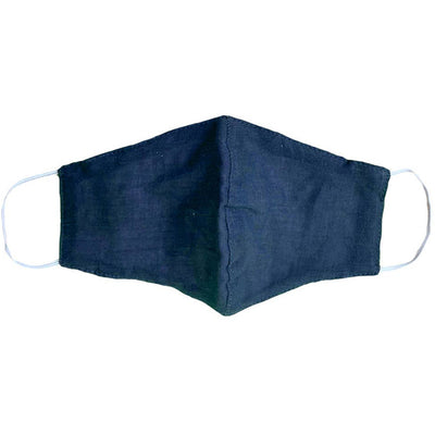 Reusable Adult Wide Face Mask with Filter Pocket - Navy Blue