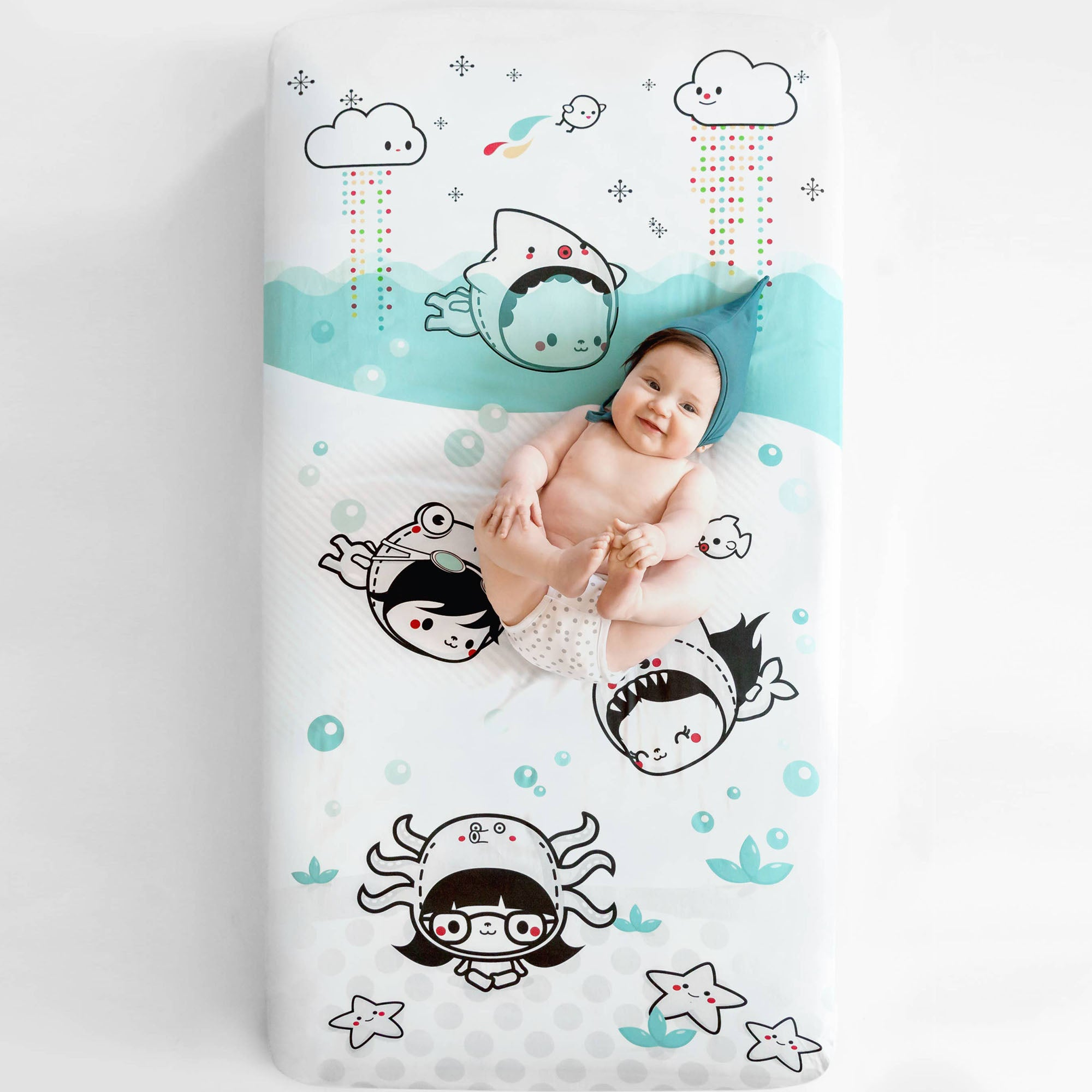 Rookie Humans Organic Cotton Crib Sheet - Dive In