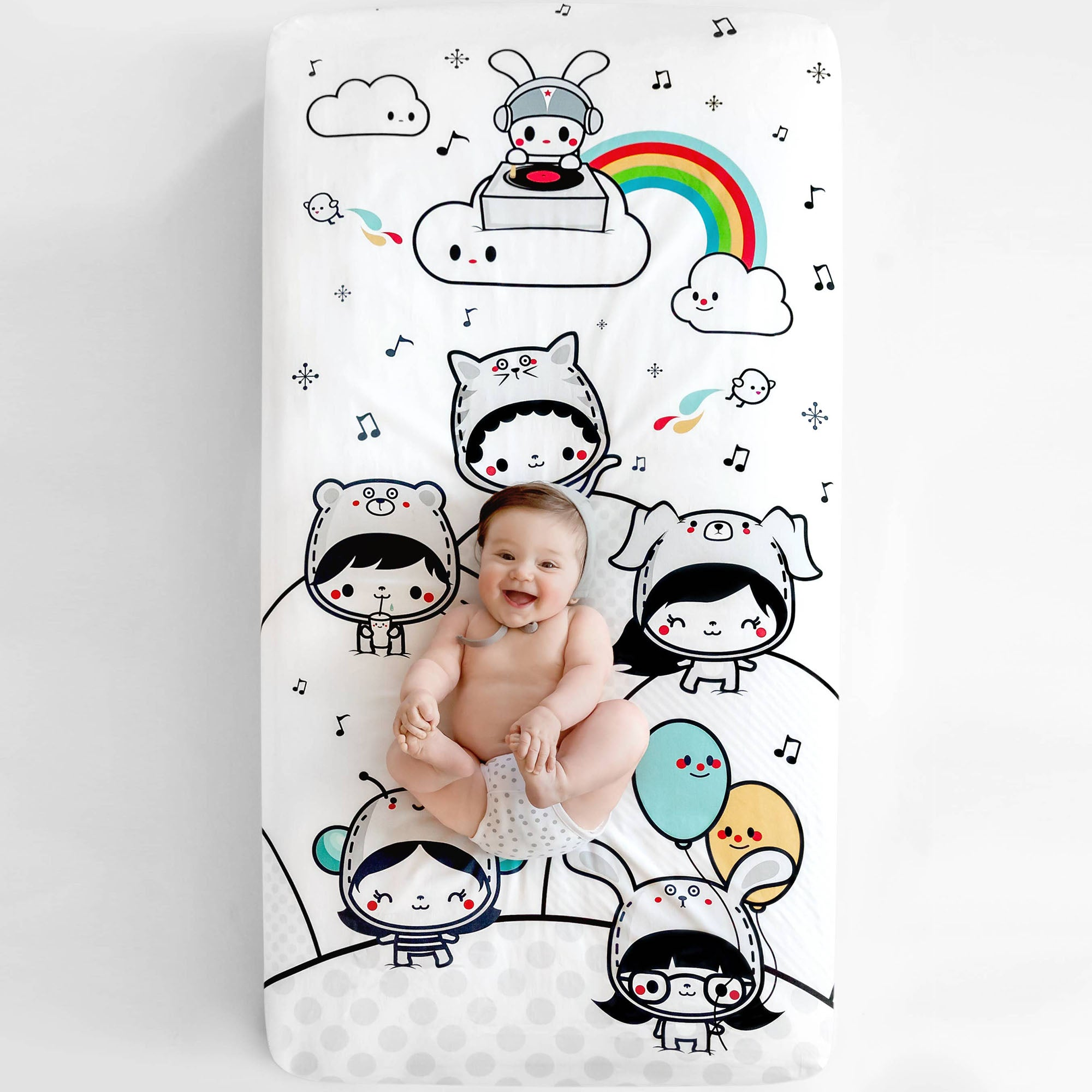 Rookie Humans Organic Cotton Crib Sheet - Party In My Crib