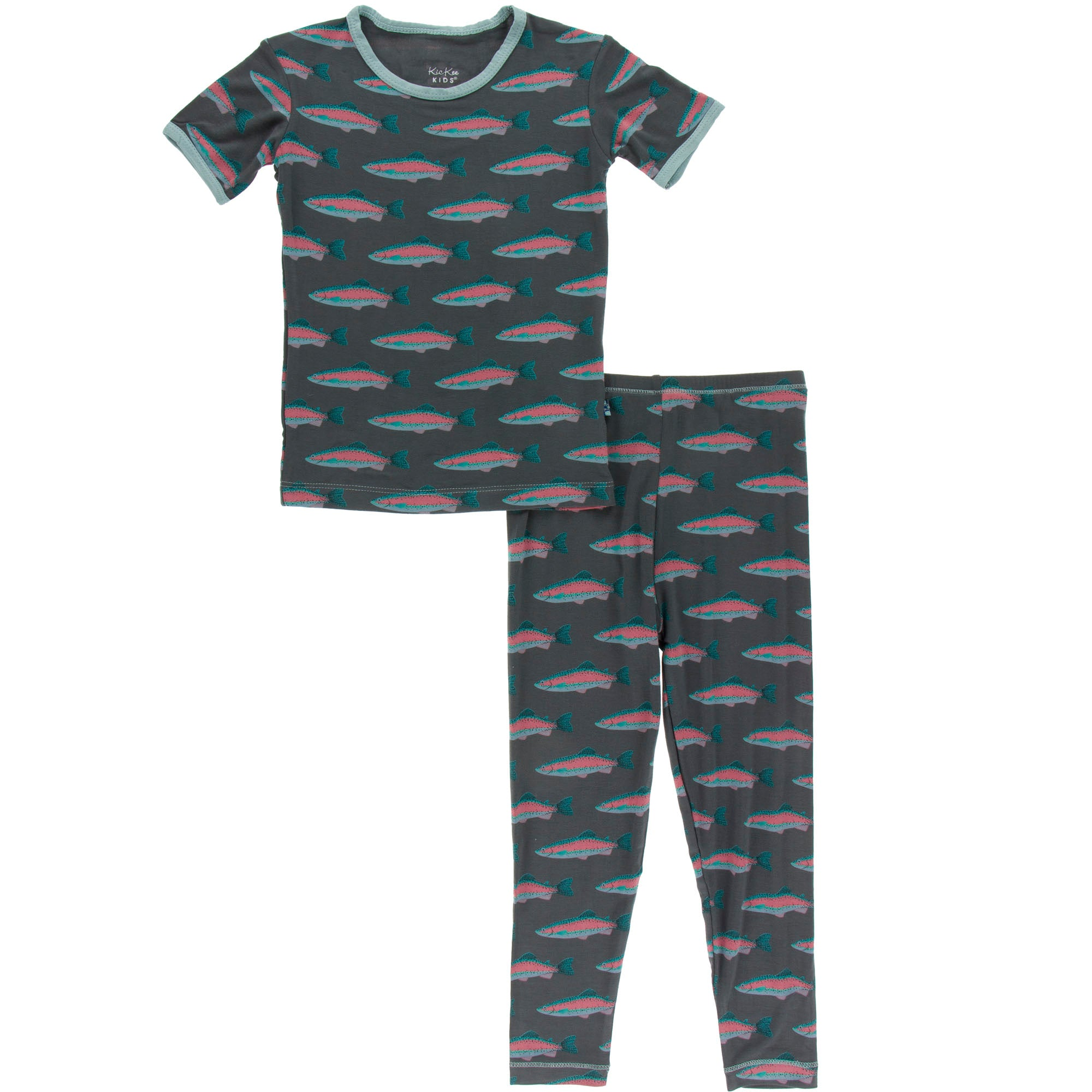 KicKee Pants Short Sleeve Pajama Set - Stone Rainbow Trout