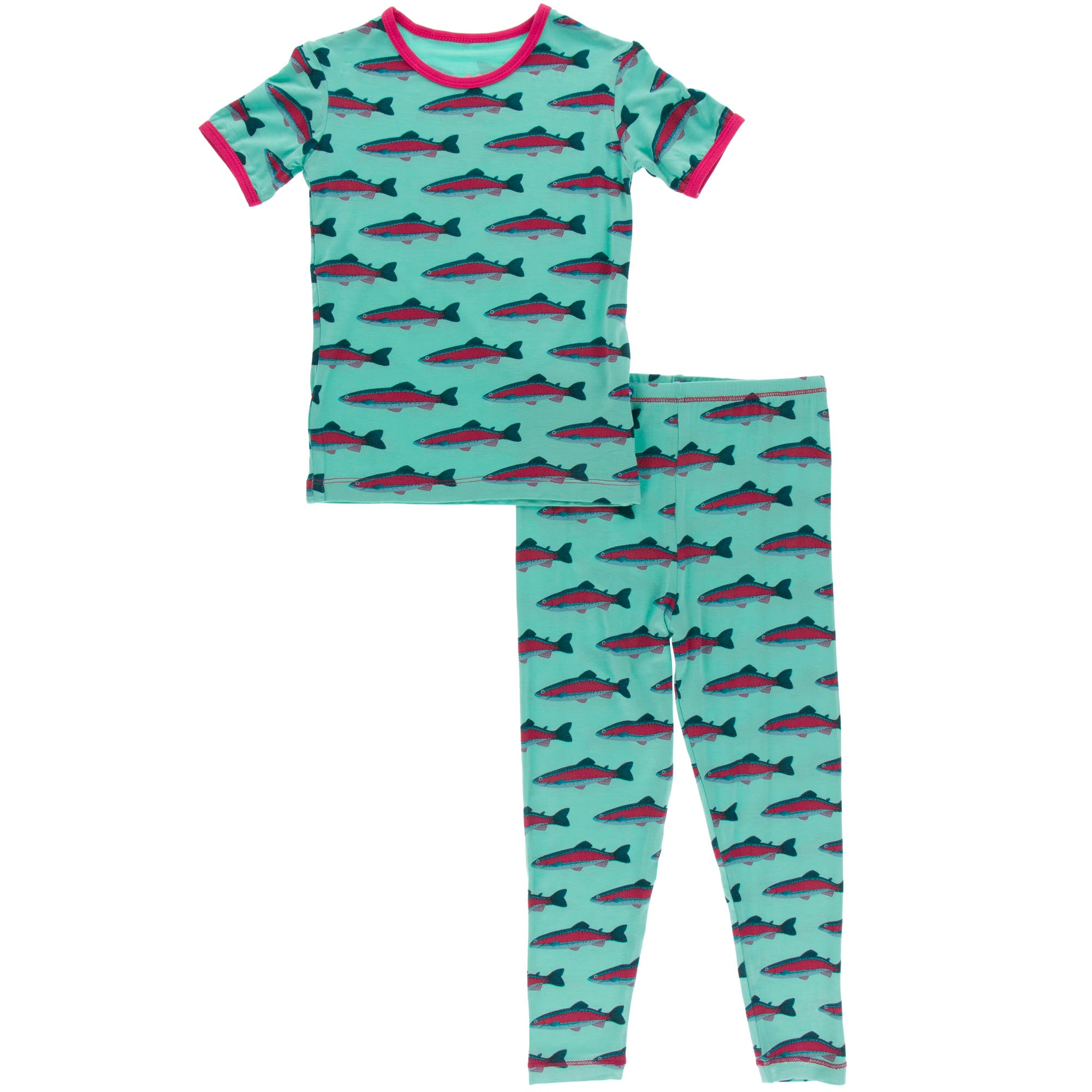 KicKee Pants Short Sleeve Pajama Set - Glass Rainbow Trout