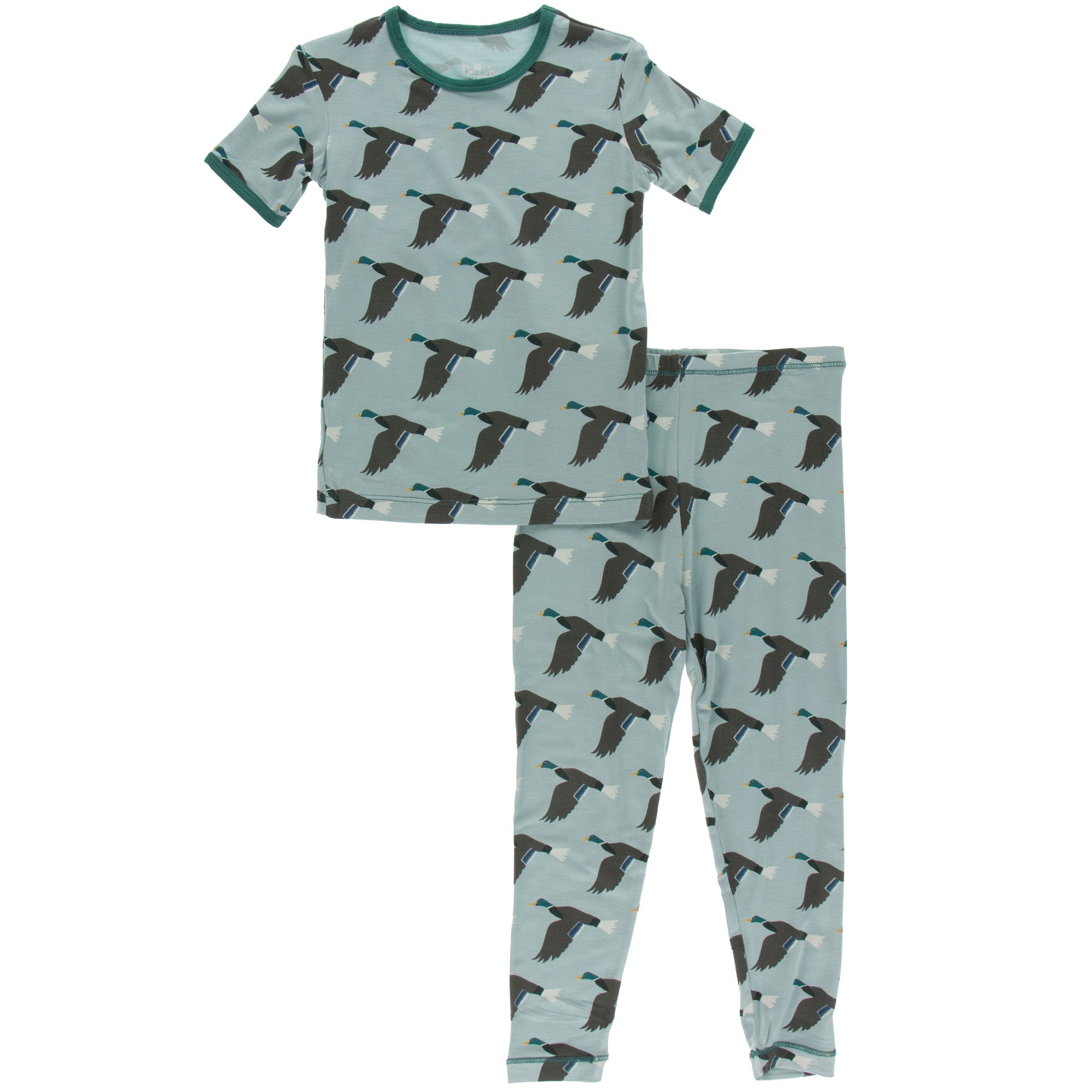 KicKee Pants Short Sleeve Pajama Set - Jade Mallard Duck