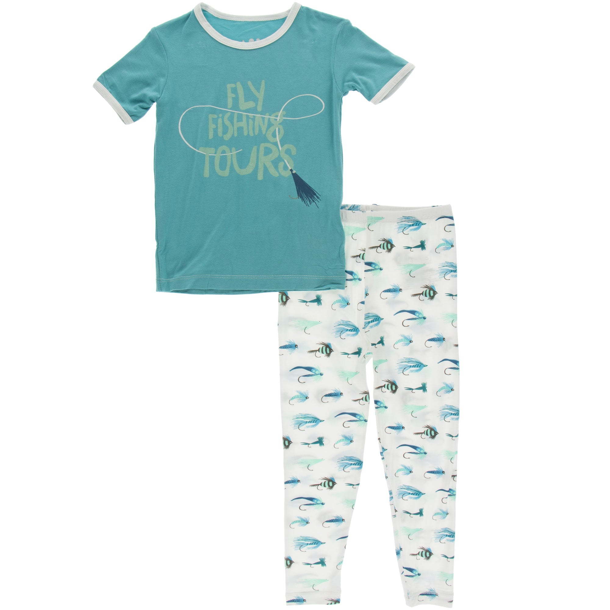 KicKee Pants Short Sleeve Pajama Set - Natural Fishing Flies