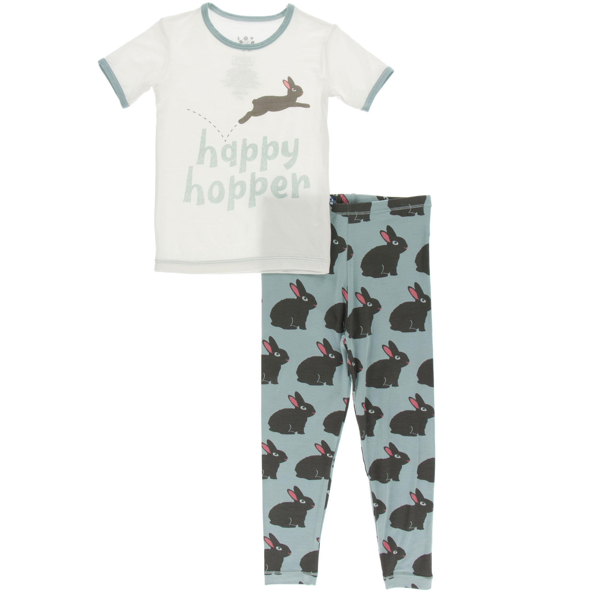 KicKee Pants Short Sleeve Pajama Set - Jade Forest Rabbit