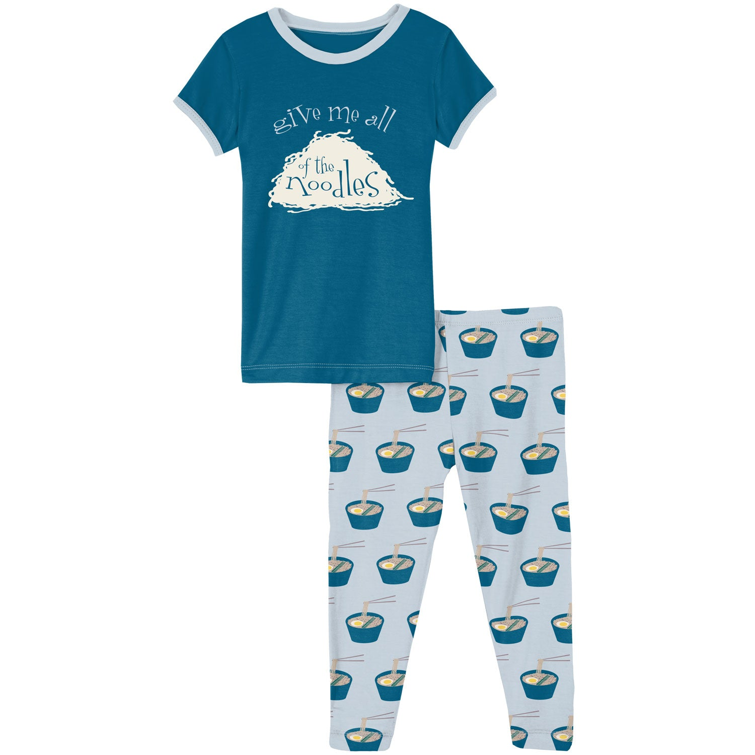 KicKee Pants Short Sleeve Pajama Set - Illusion Blue Ramen