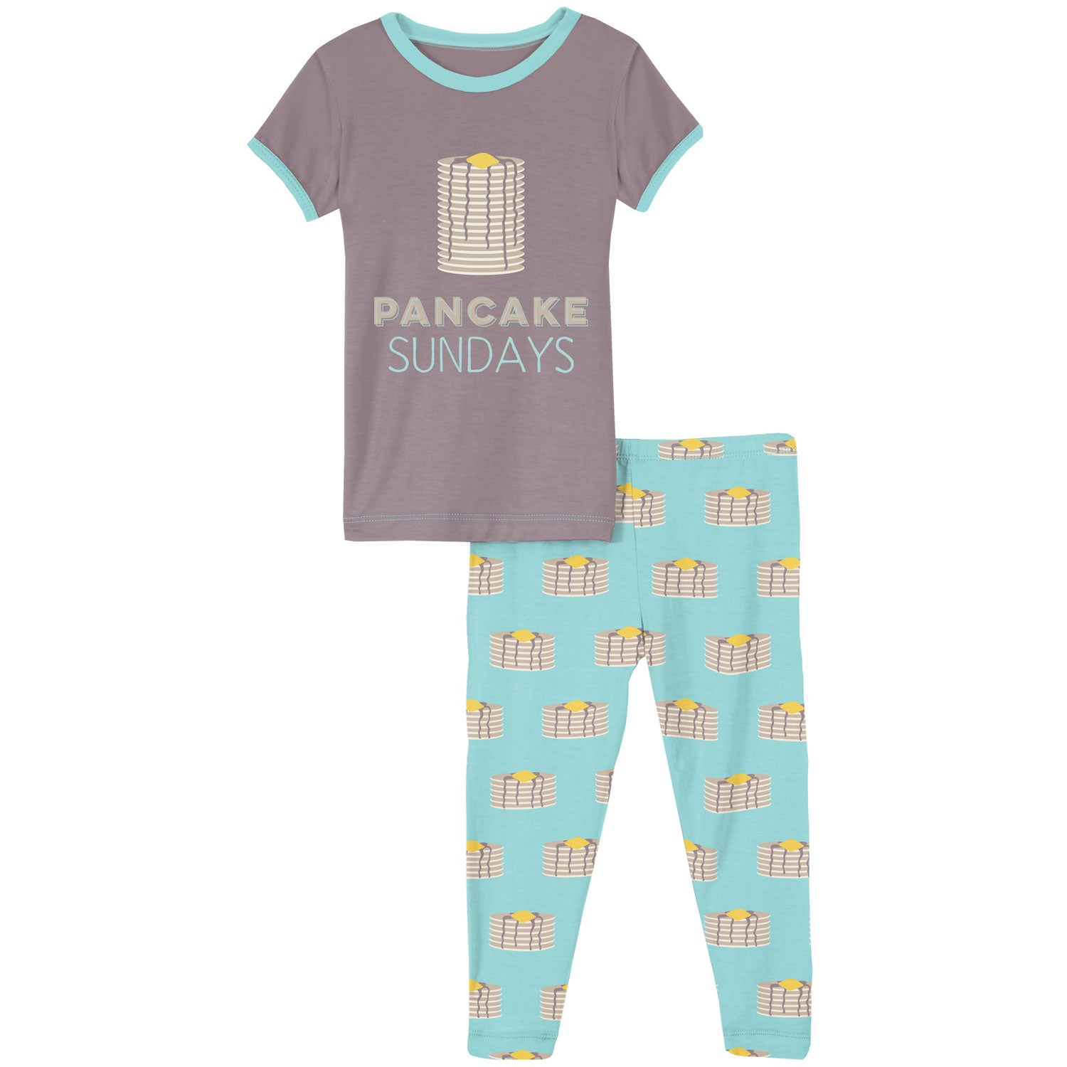 KicKee Pants Short Sleeve Pajama Set - Summer Sky Pancakes