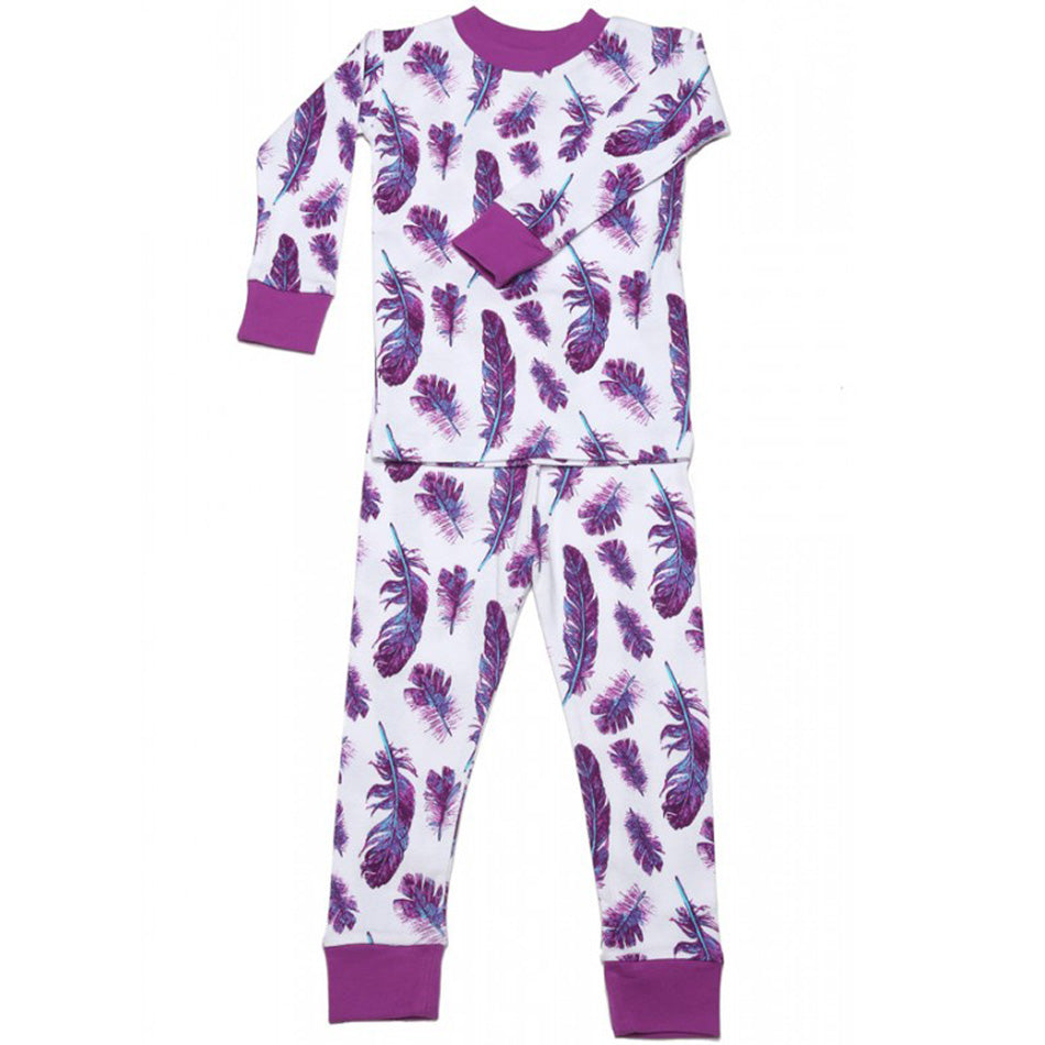 New Jammies Organic Long Sleeve Pajama Set Feathers