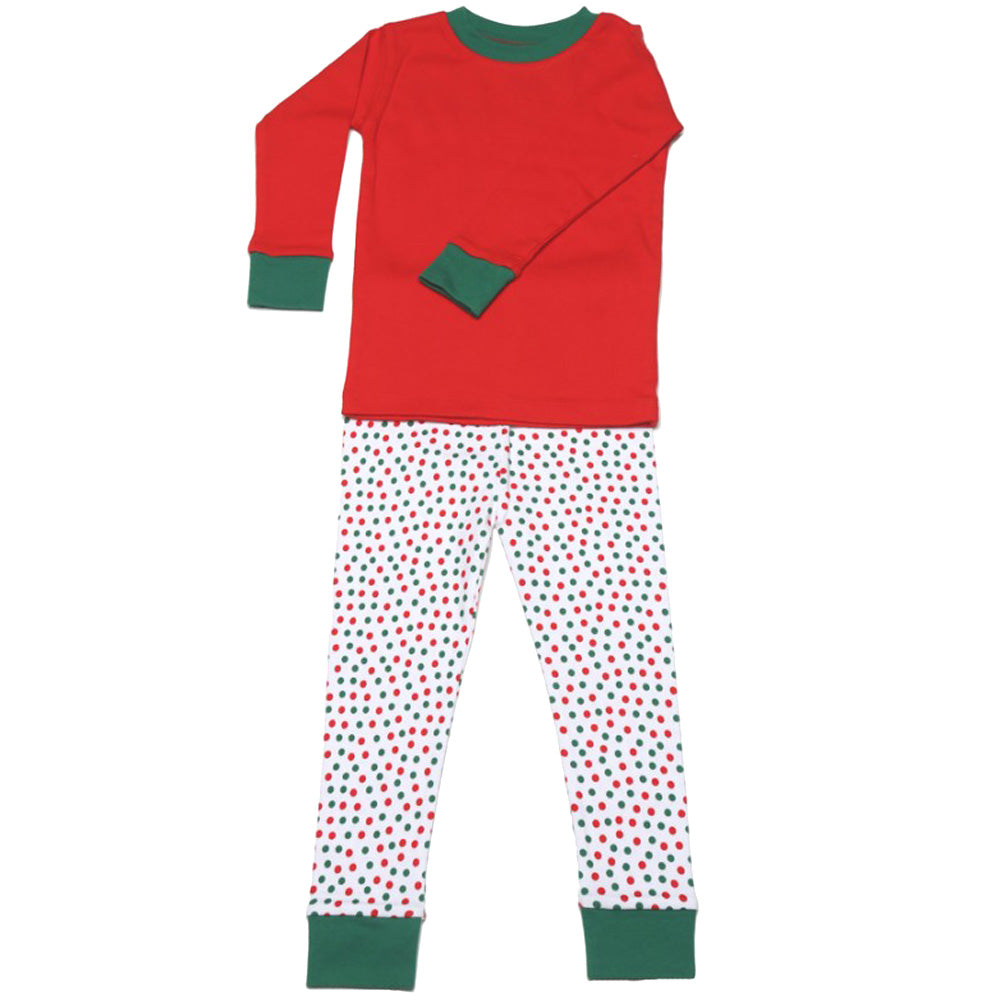 New Jammies Organic Long Sleeve Pajama Set Christmas Dots