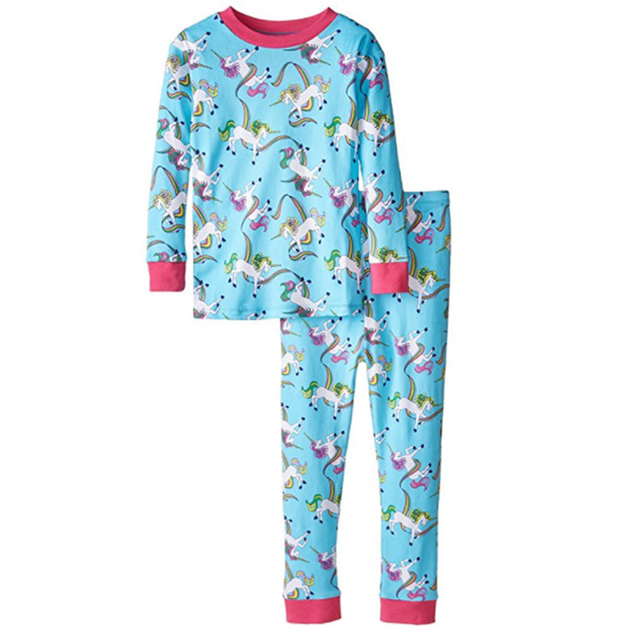 New Jammies Organic Cotton Long Sleeve Pajama Set Rainbow Unicorn