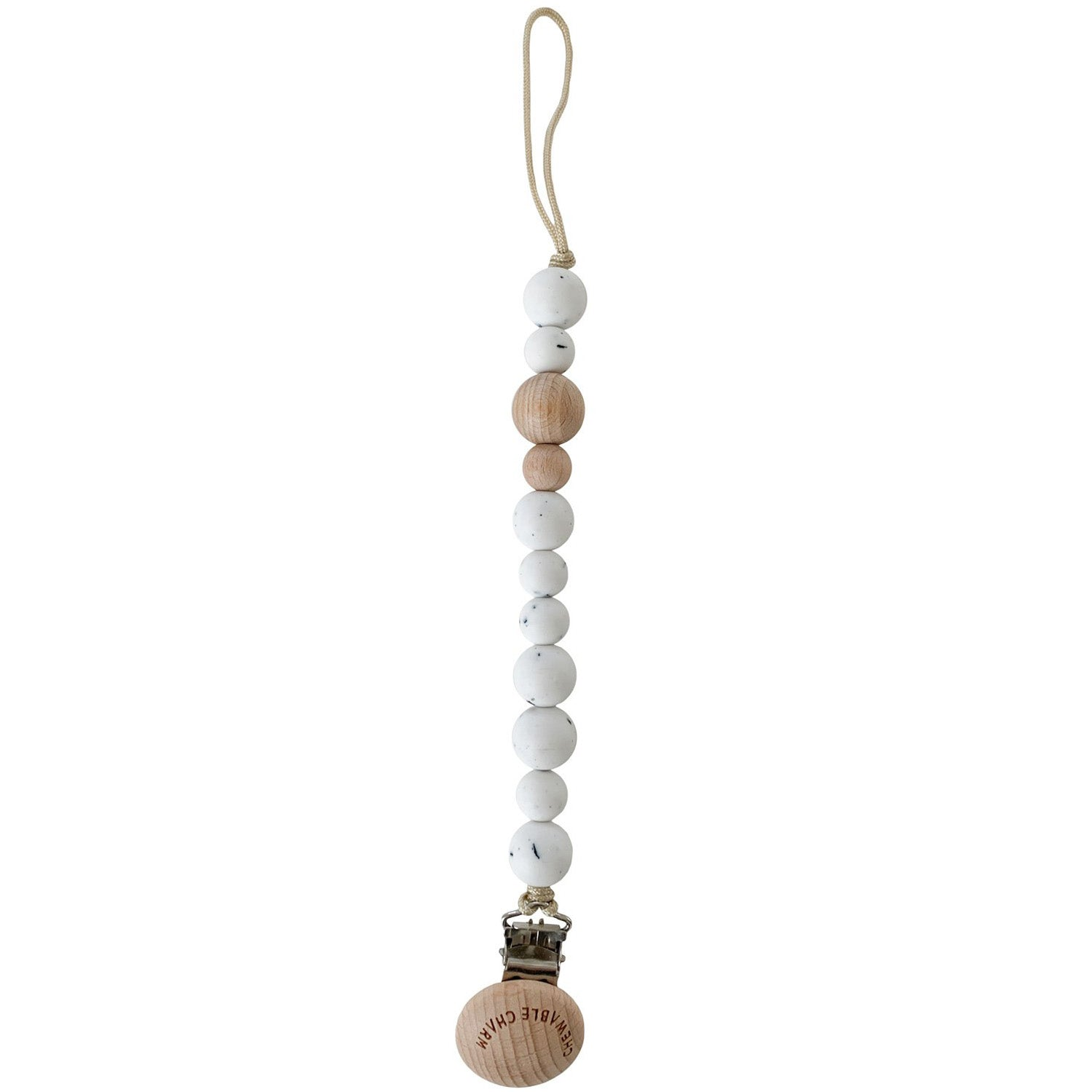 Chewable Charm Silicone and Wood Pacifier Clip Moonstone