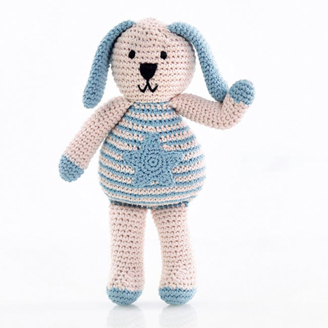 Pebble Organic Fair Trade Hand Knit Rattle - Blue Bunny