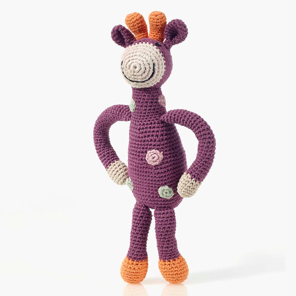 Pebble Organic Fair Trade Hand Knitted Rattle - Purple Giraffe