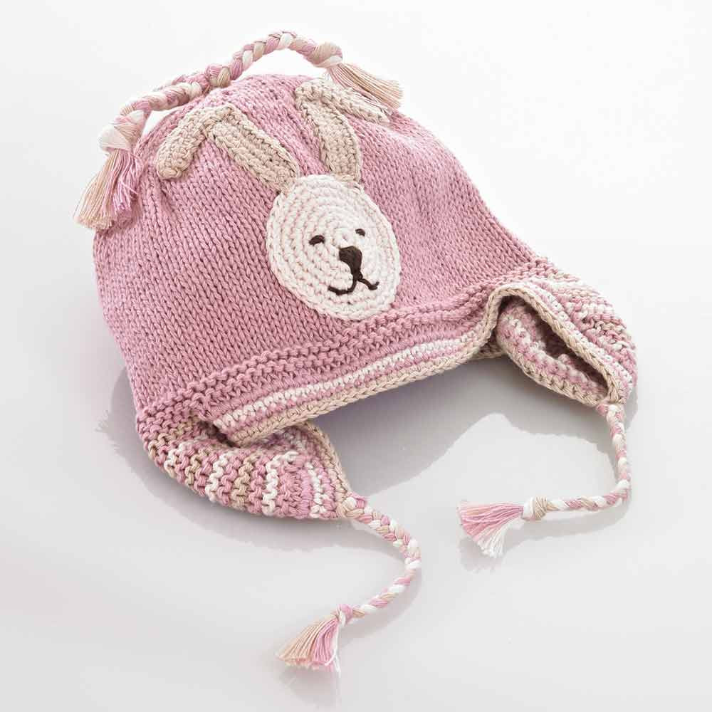 Pebble Organic Fair Trade Crochet Hat - Pink Bunny