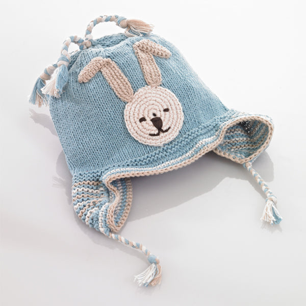 Pebble Organic Fair Trade Crochet Hat - Blue Bunny