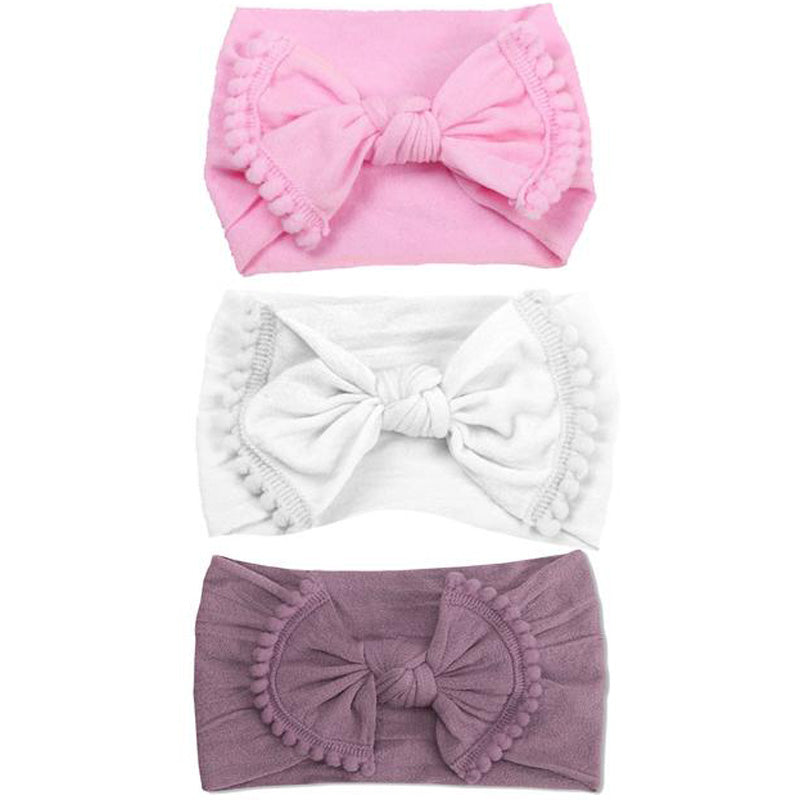 Emerson and Friends Pink Pom Pom Baby Headband Gift Set
