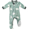 ZippyJamz Organic Baby Footed Sleeper w/ Inseam Zipper - Be Beary Quiet
