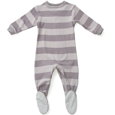 ZippyJamz Organic Baby Footed Sleeper w/ Inseam Zipper - Purple Stripes