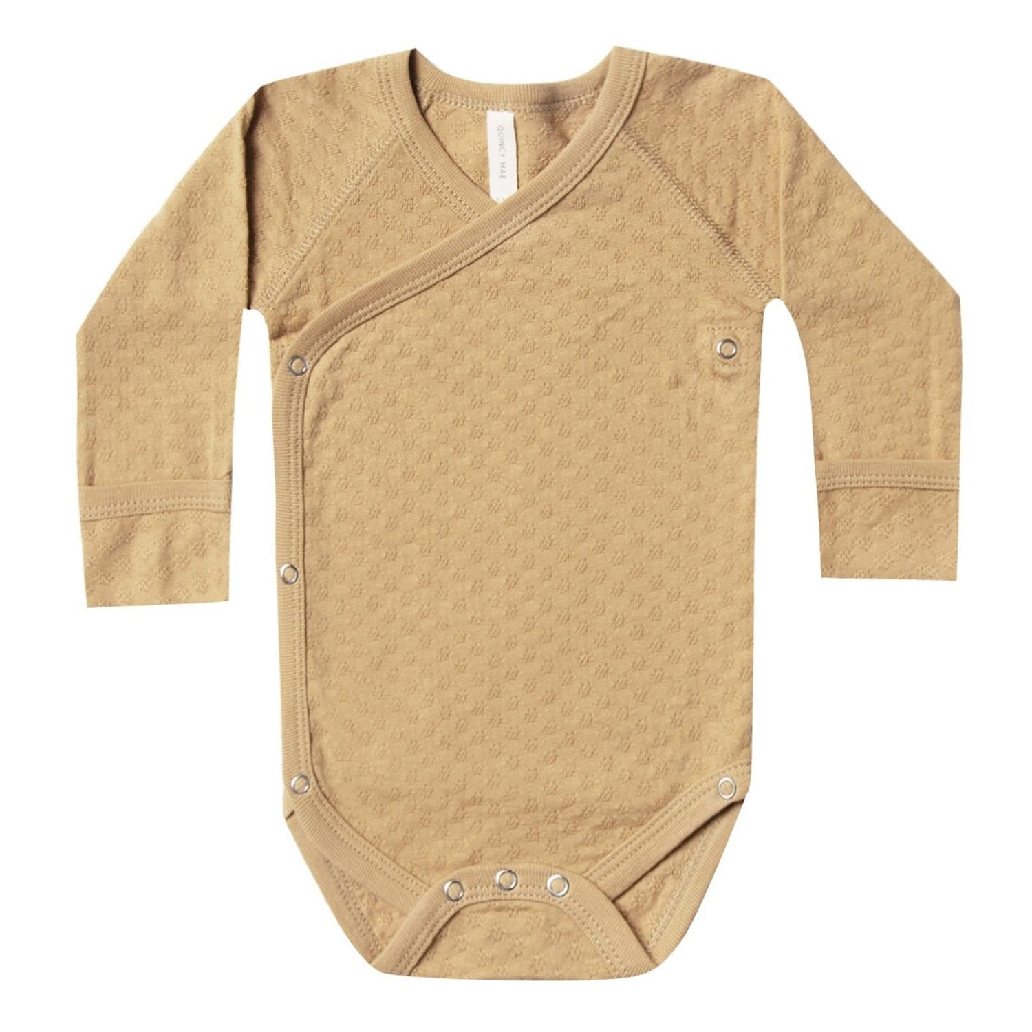 Quincy Mae Organic Pointelle Kimono Bodysuit Honey