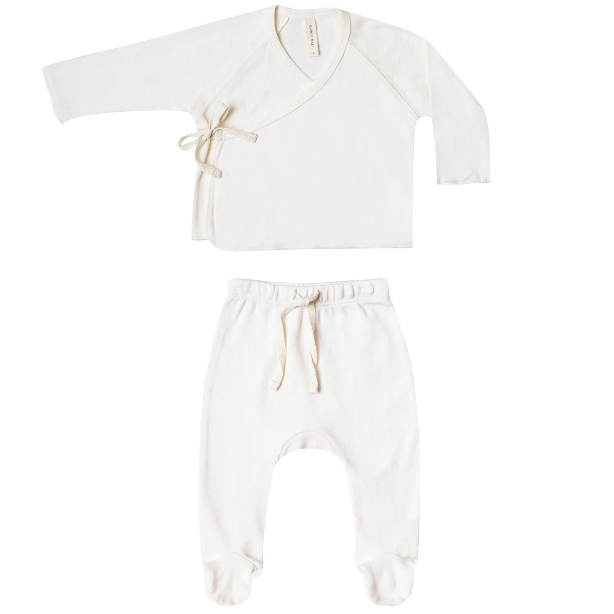 Quincy Mae Organic Kimono Top + Footed Pant Set Ivory
