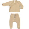 Quincy Mae Organic Kimono Top + Footed Pant Set Honey