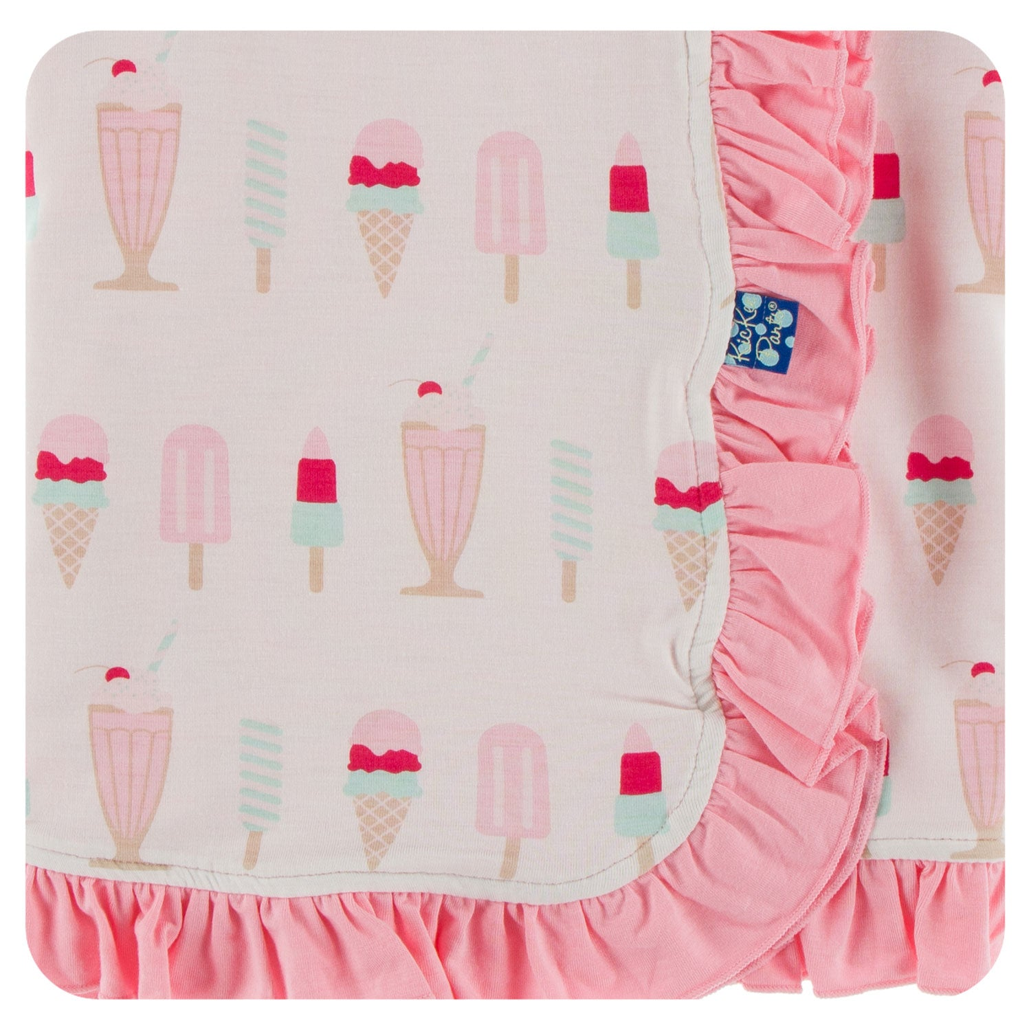 KicKee Pants Ruffle Stroller Blanket - Natural Ice Cream Shop