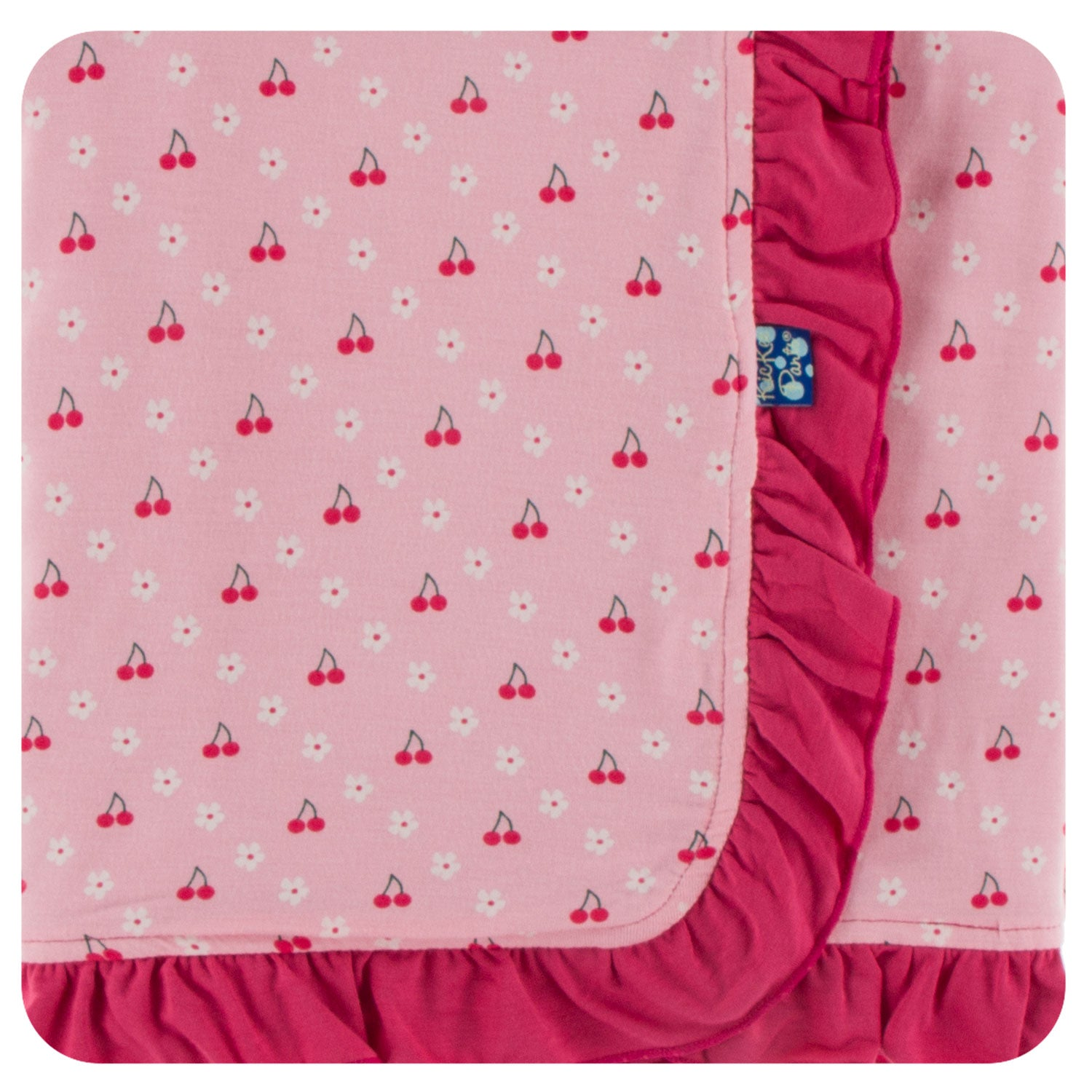 KicKee Pants Ruffle Stroller Blanket - Lotus Cherries and Blossoms