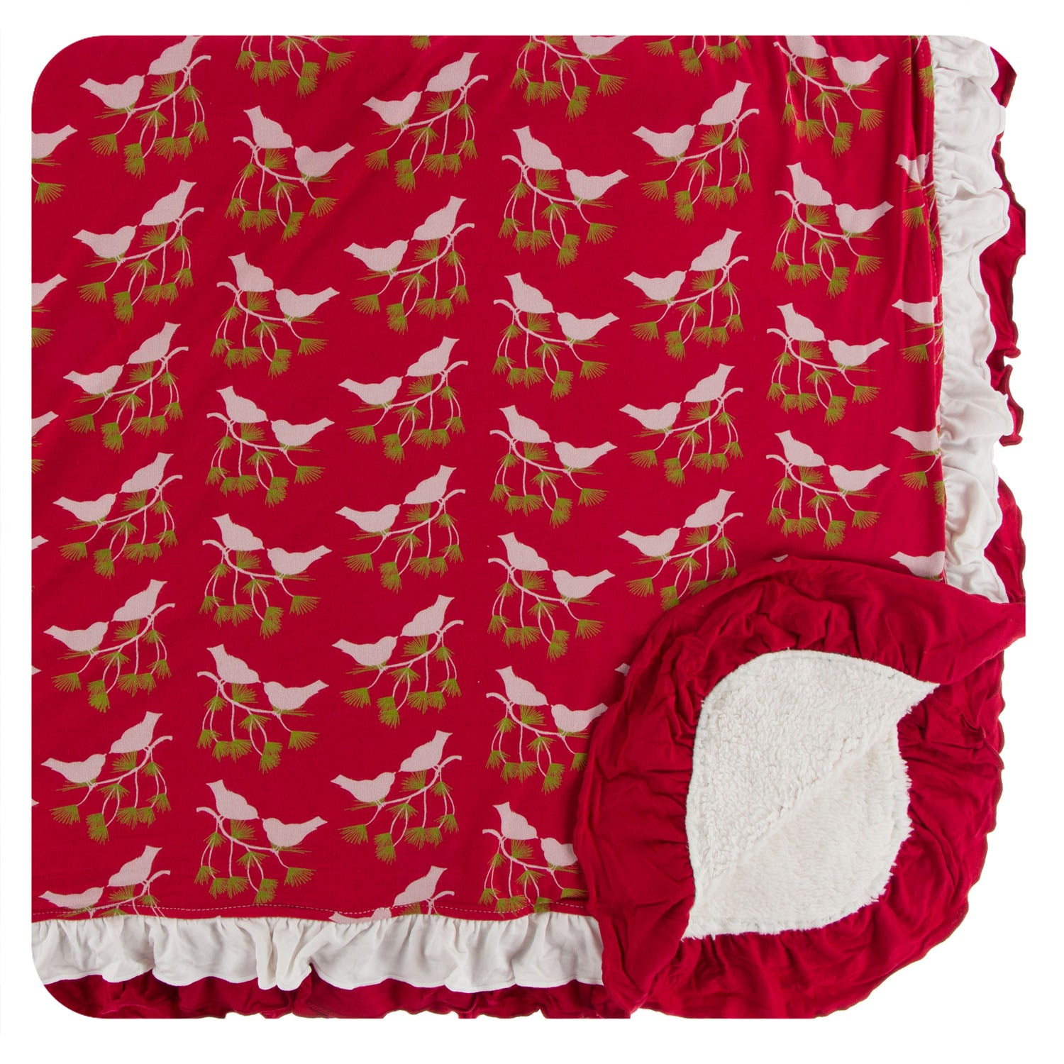 KicKee Pants Sherpa Lined Double Ruffle Toddler Blanket - Crimson Kissing Birds