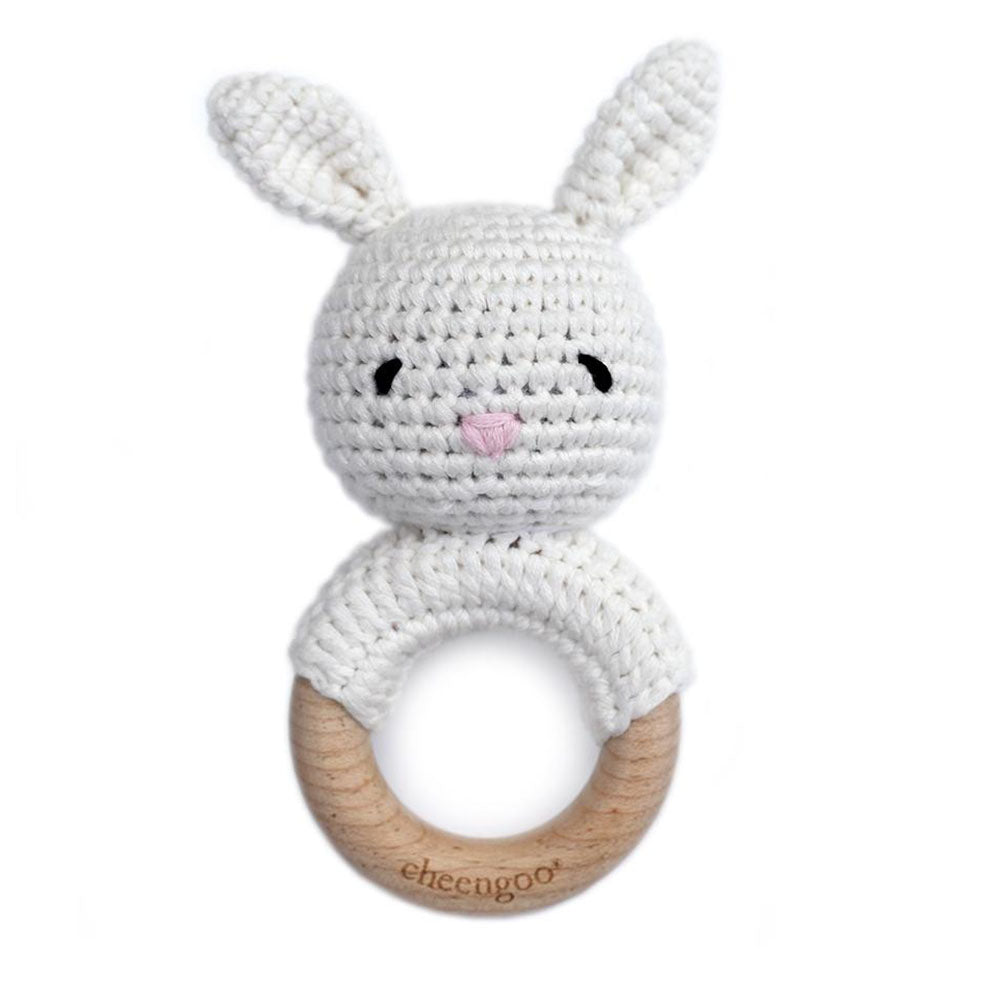 Cheengoo Bunny Rattle Teether Snow