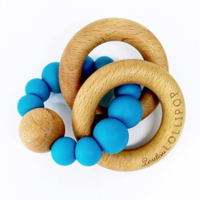 Loulou Lollipop Bubble Silicone and Wood Teether - Cerulean Blue