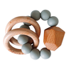 Chewable Charm Silicone and Wood Teether Ring Grey