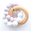 Loulou Lollipop Trinity Silicone and Wood Teether Lilac
