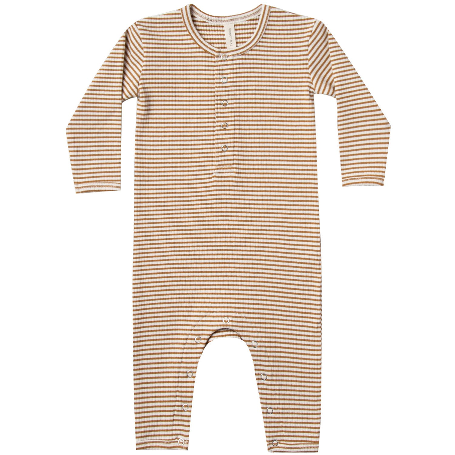 Quincy Mae Organic Ribbed Baby Jumpsuit Walnut Stripe