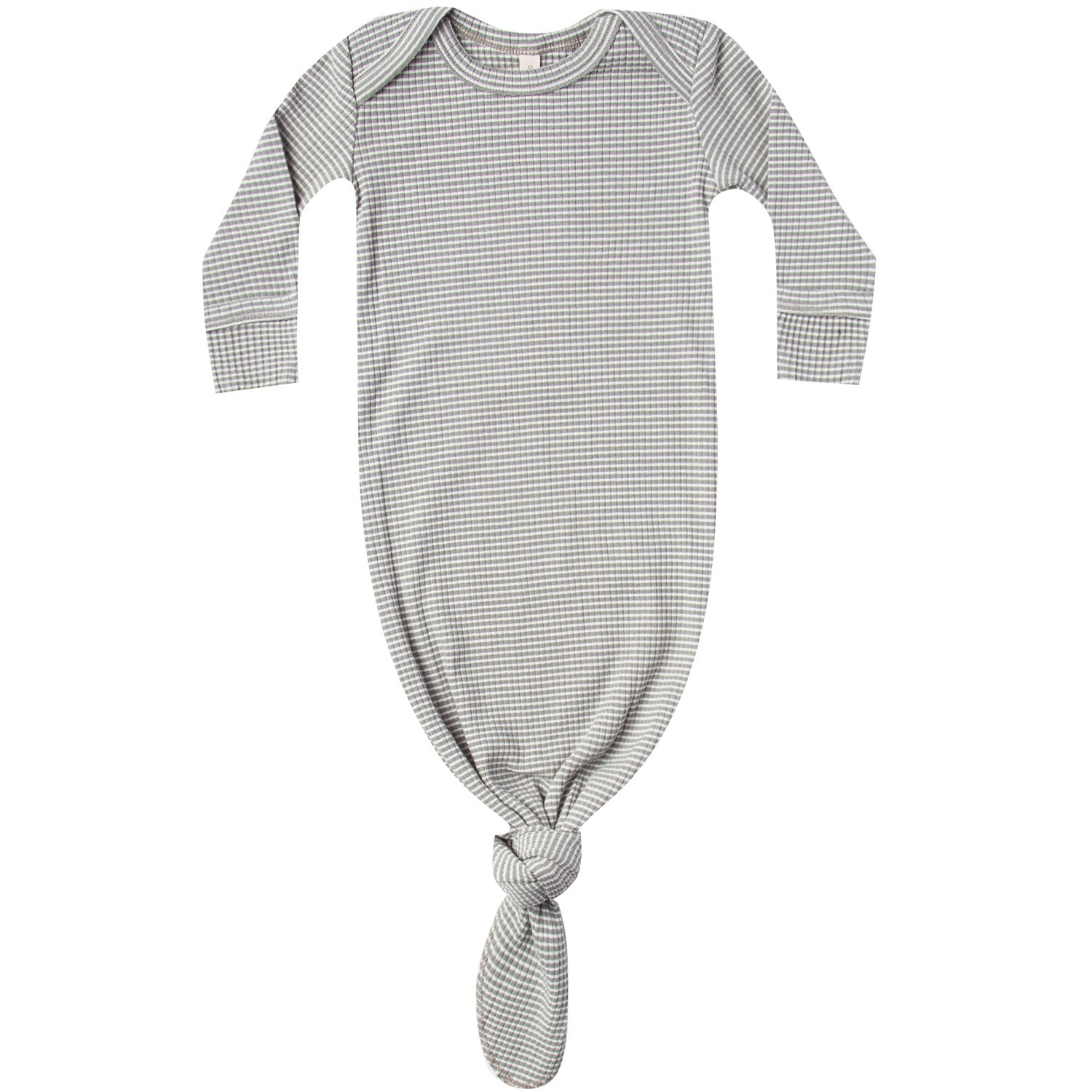 Quincy Mae Ribbed Knotted Baby Gown Eucalyptus Stripe
