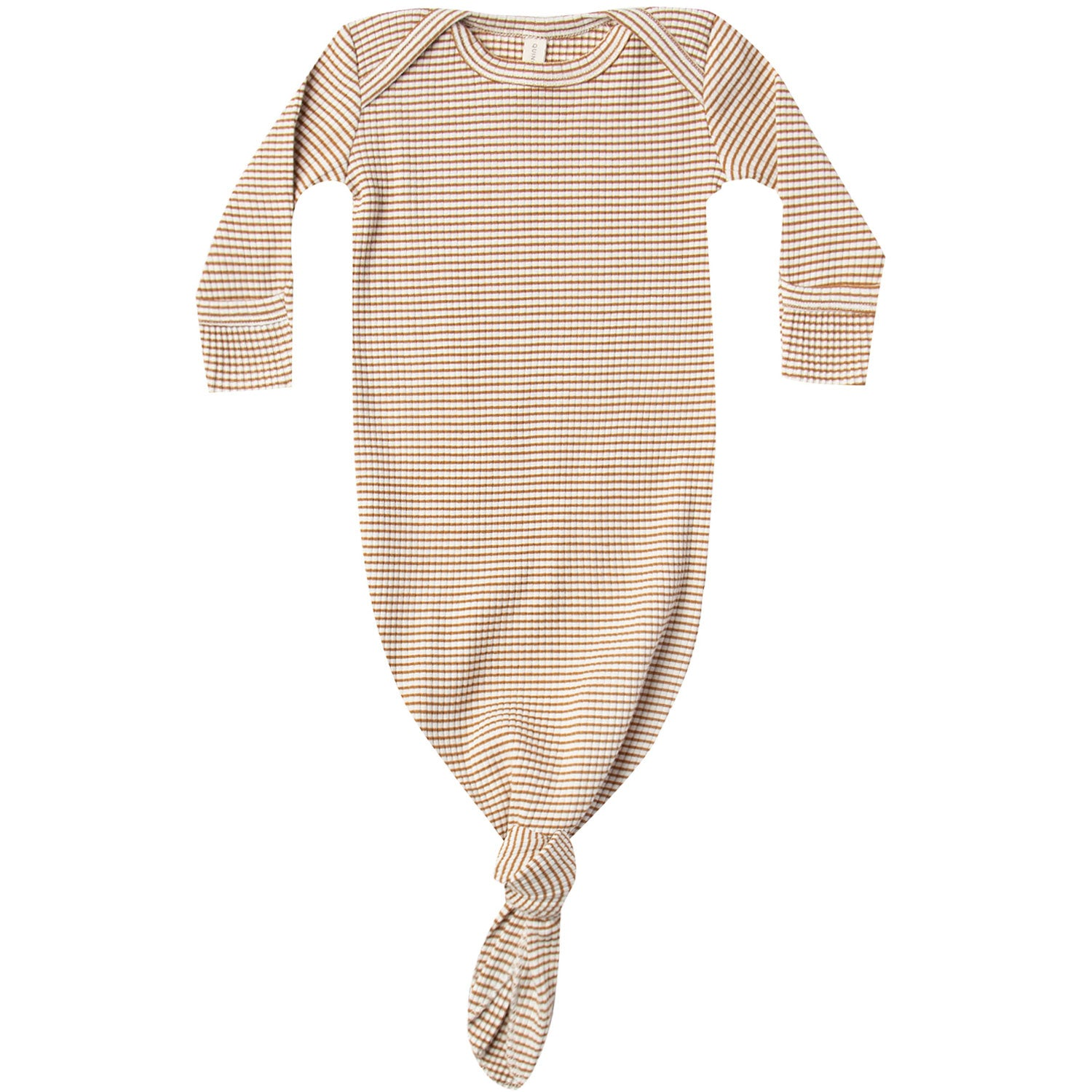 Quincy Mae Organic Ribbed Knotted Baby Gown Walnut Stripe