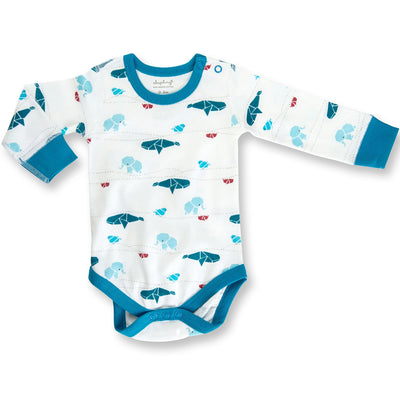 Sapling Organic Long Sleeve Bodysuit - Origami Juniper Blue