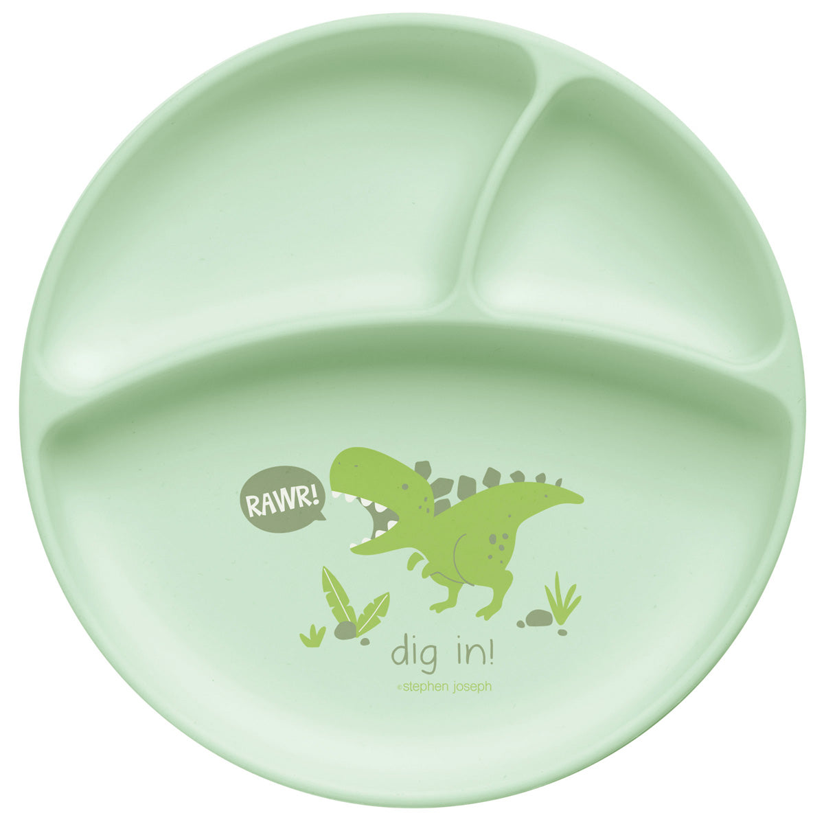 Suction Cup Silicone Baby Plate - Dino