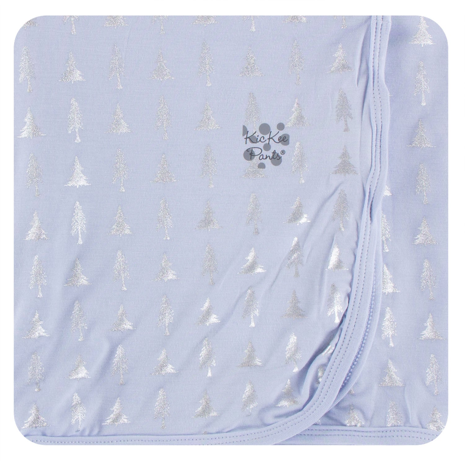 KicKee Pants Swaddle Blanket Frost Silver Trees