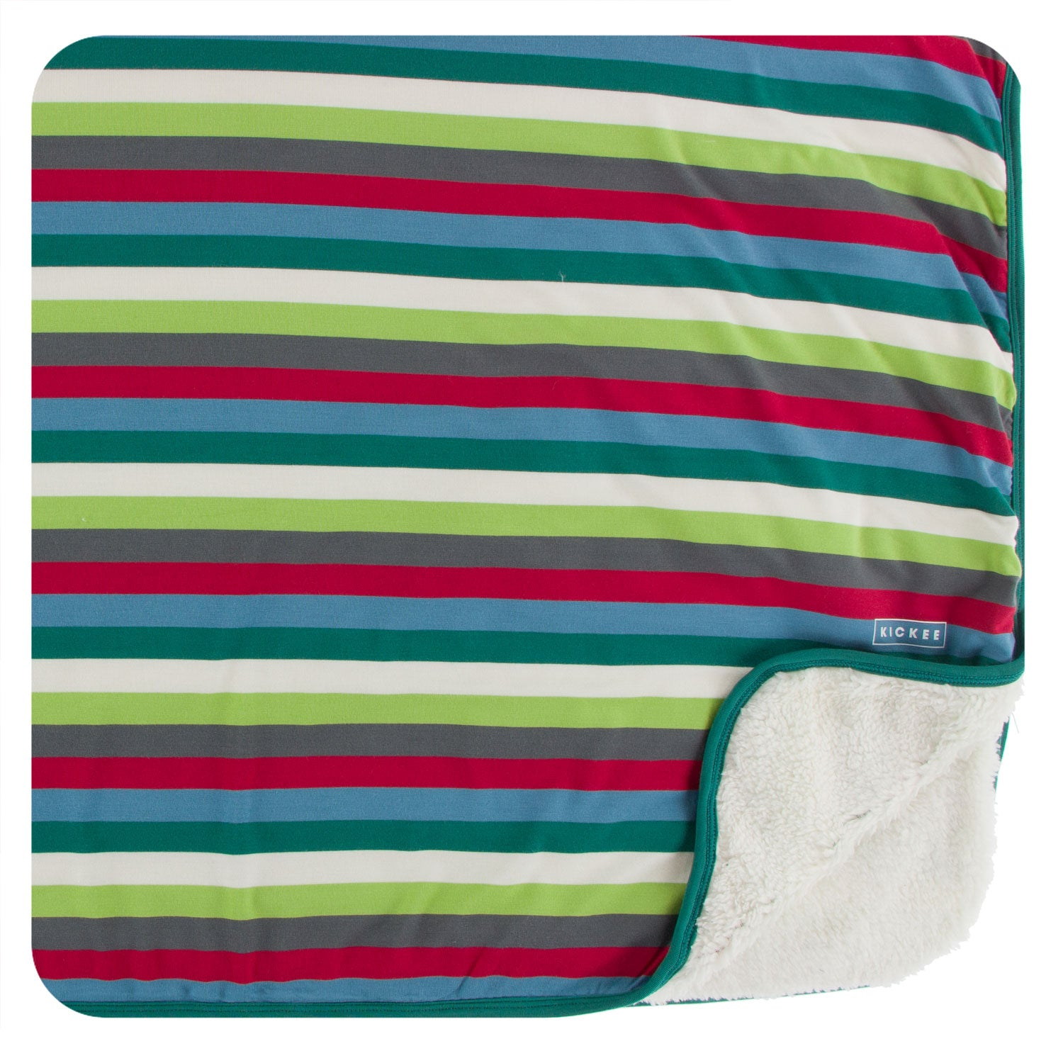KicKee Pants Sherpa-lined Toddler Blanket - 2020 Multi Stripe