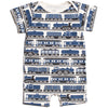 Winter Water Factory Organic Summer Romper Trains Navy
