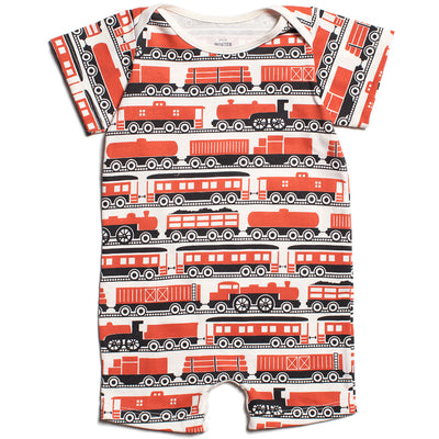 Winter Water Factory Organic Summer Romper Trains Orange