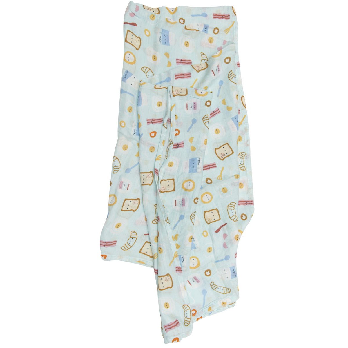 Loulou Lollipop Bamboo Muslin Swaddle Blanket - Breakfast Blue