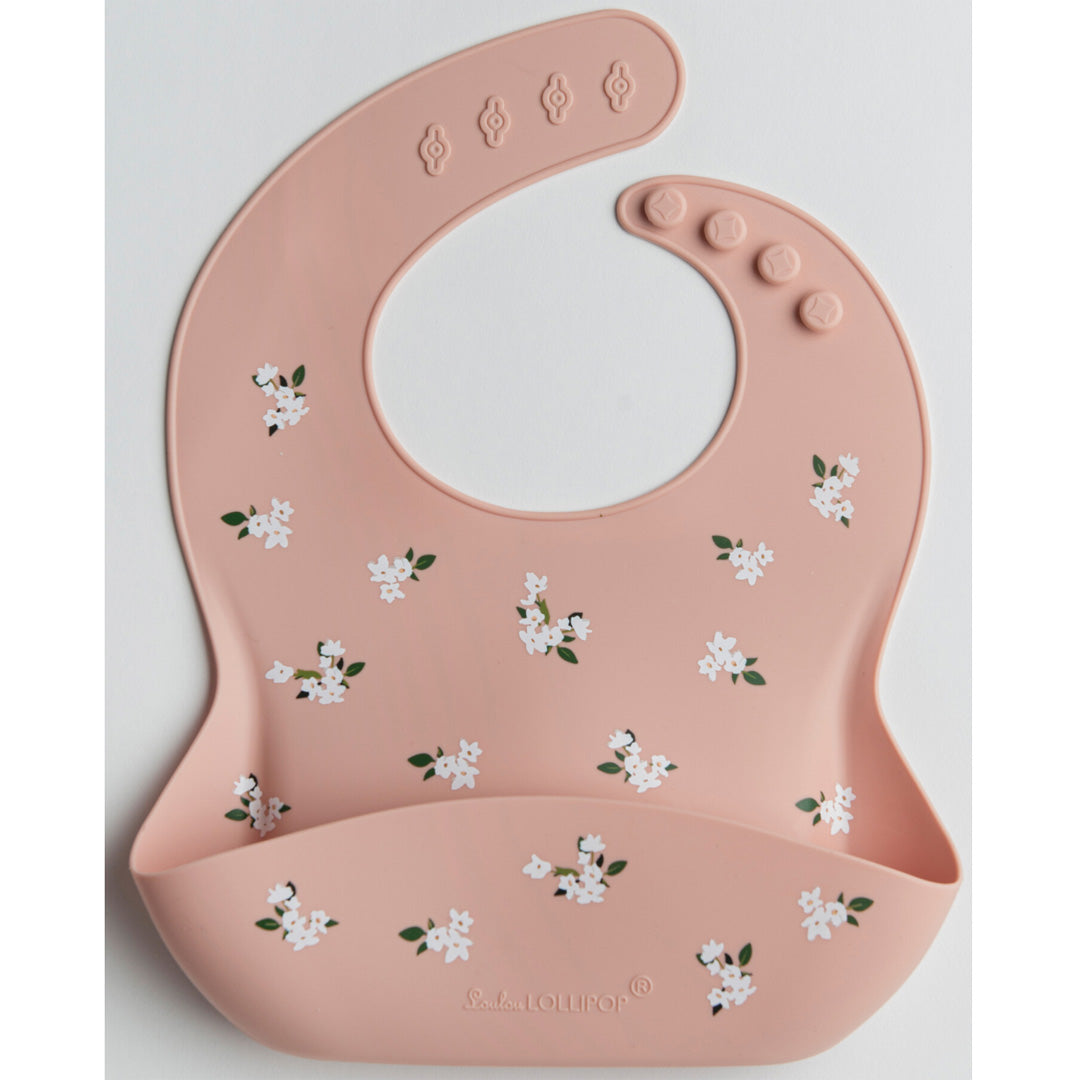 Loulou Lollipop Silicone Bib - White Flower