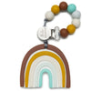 Loulou Lollipop Silicone Baby Teether and Holder Set Neutral Rainbow