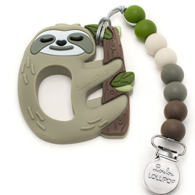 Loulou Lollipop Silicone Teether and Holder Set - Sloth