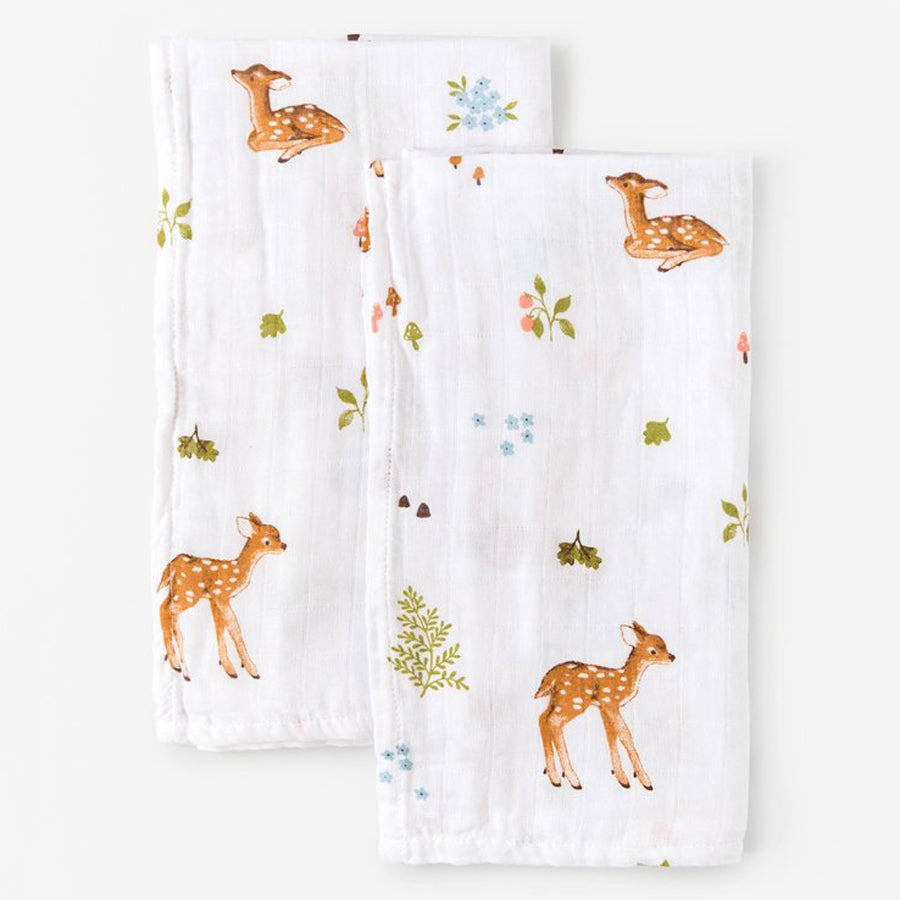 Little Blue Nest Organic Cotton Muslin Cloths / Burpies (2 PK) - Fawn
