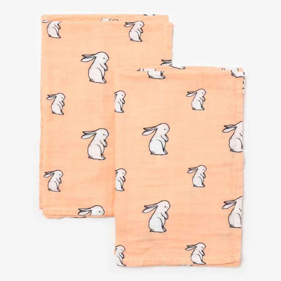 Little Blue Nest Organic Cotton Muslin Cloths / Burpies (2 PK) - Long Ear Bunny