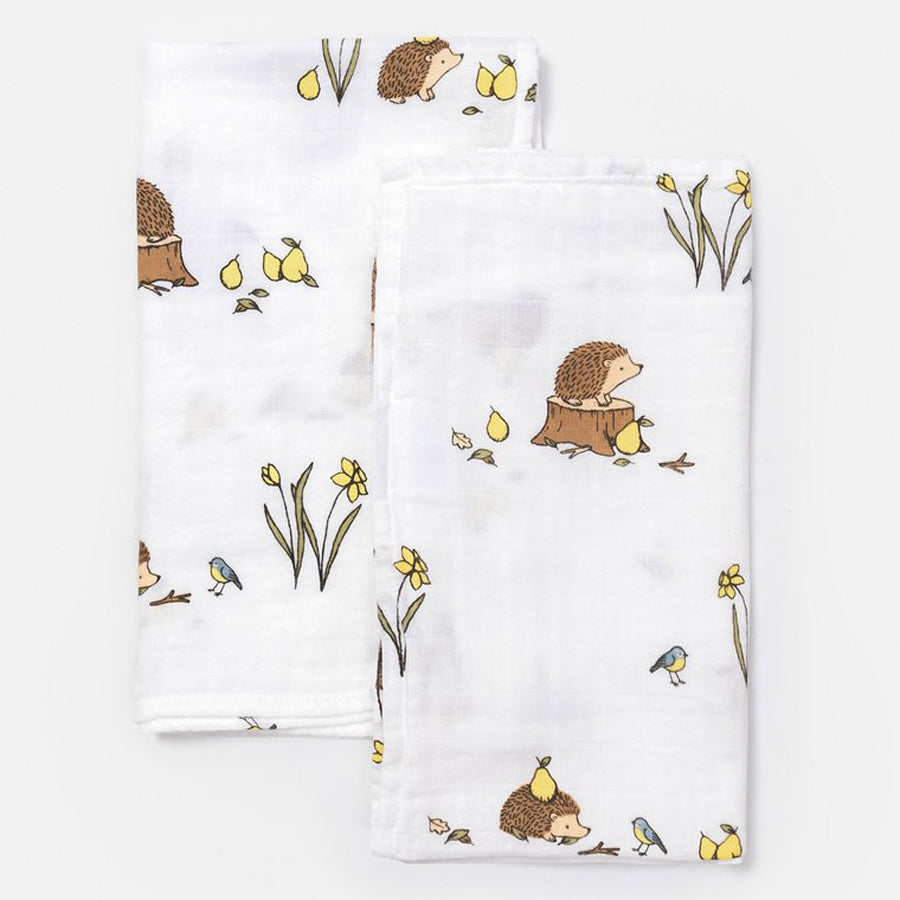 Little Blue Nest Organic Cotton Muslin Cloths / Burpies (2 PK) - Woodland Hedgehog