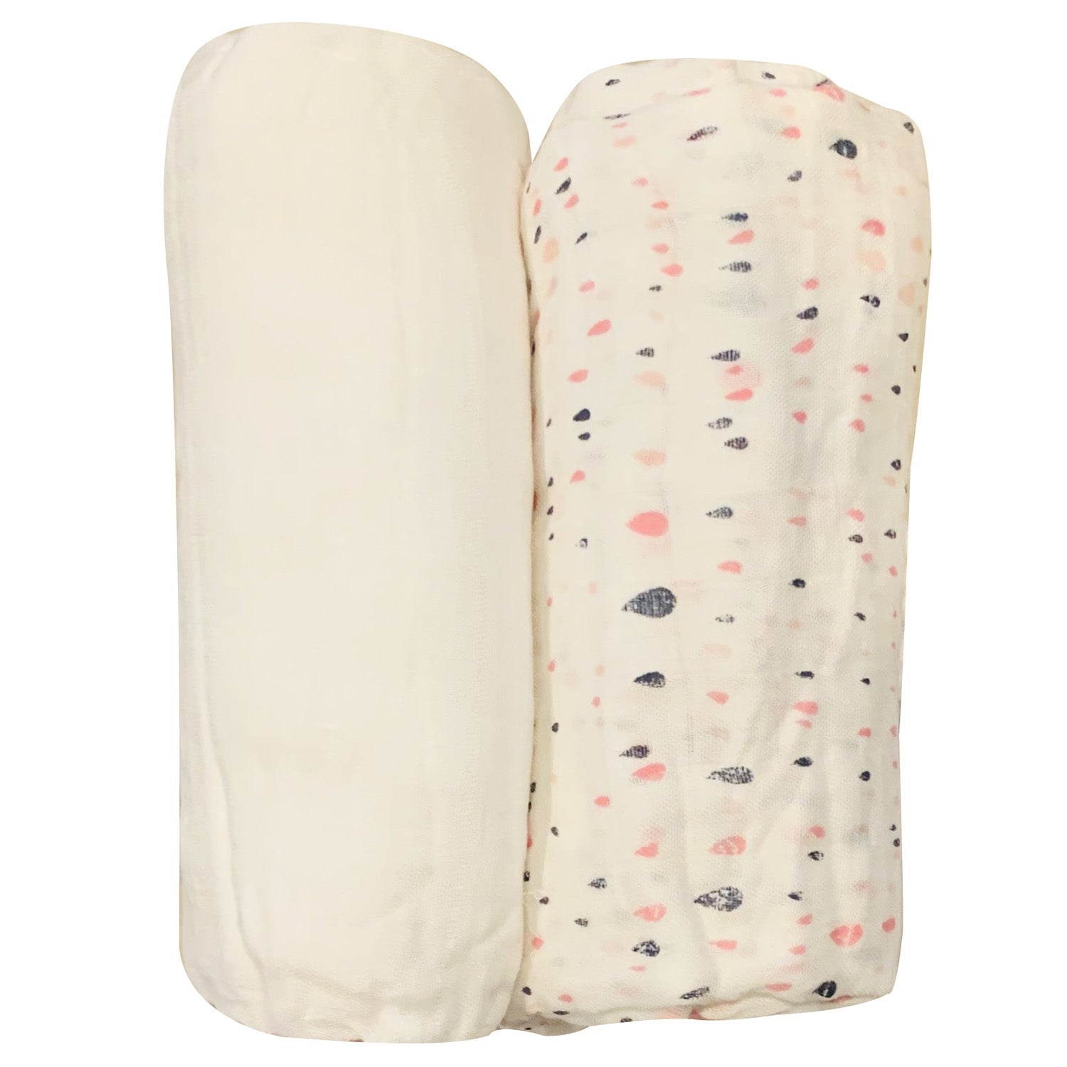 FIRSTS by Petit Lem Bamboo Muslin Swaddle Blanket 2 Pack - Catch of the Day Pink