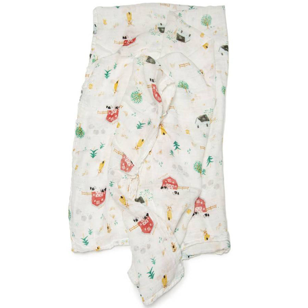 Loulou Lollipop Bamboo Muslin Swaddle Blanket Farm Animals
